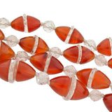 Art Deco Carnelian & Rock Quartz Crystal Necklace