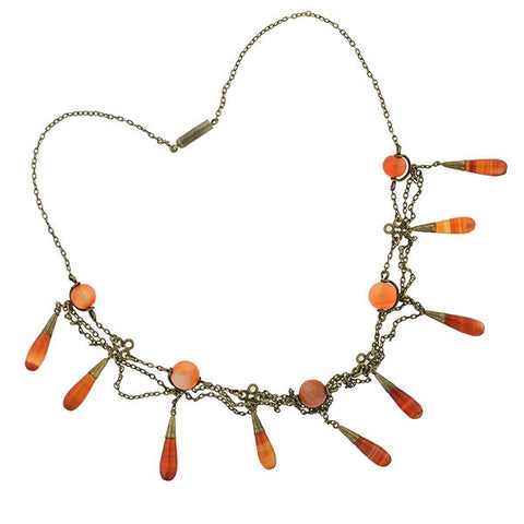 Arts & Crafts Sterling Gilt & Carnelian Teardrop Festoon Necklace