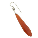 Late Art Deco Sterling Carnelian Teardrop Earrings