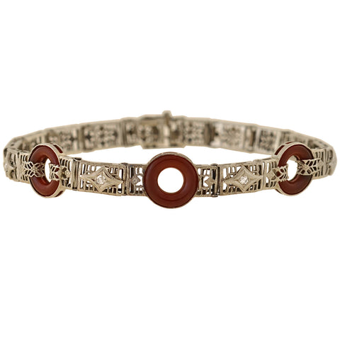 Art Deco 14kt Carnelian + Diamond Filigree Line Bracelet