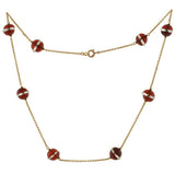 Art Deco 9kt Carnelian & Rock Quartz Crystal Necklace
