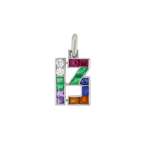 "CARTIER Art Deco Platinum Multi-Gemstone ""Lucky 13"" Charm/Pendant"