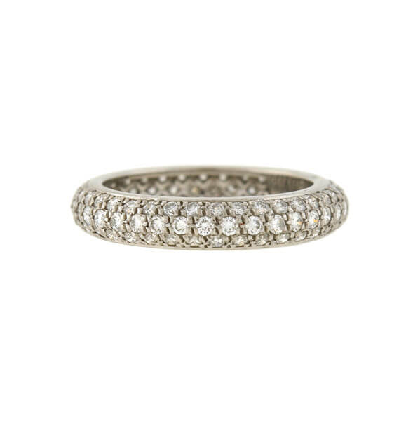 CARTIER French Platinum Pavé Diamond Eternity Band 1.50ctw