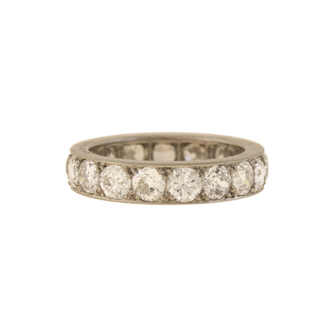 Edwardian Platinum Rose Cut Pave Diamond/Pearl Ring