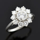 CARTIER Estate Platinum & Diamond Cluster Ring 2.03ctw