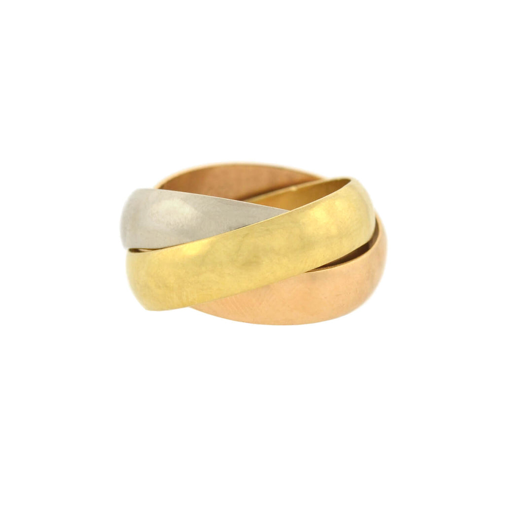 CARTIER Vintage 18kt Tri-Tone Trinity Roller Ring