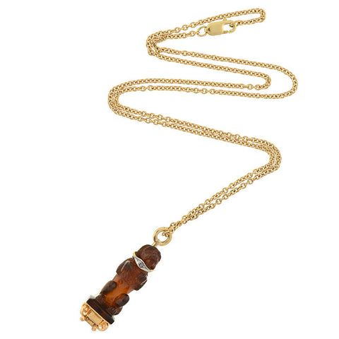 Edwardian French 18kt Carved Citrine Dog Fob Necklace