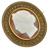 Victorian 15kt English Hard Stone Cameo Etruscan Pin