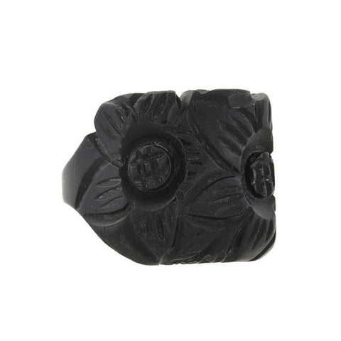 Retro Black Bakelite Carved Flower Ring