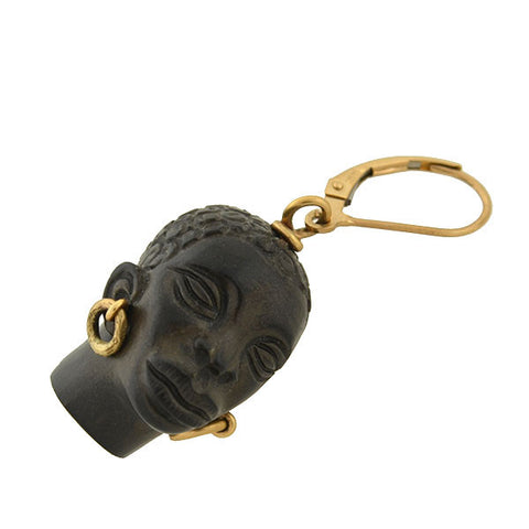 Vintage 14kt Hand Carved Blackamoor Earrings