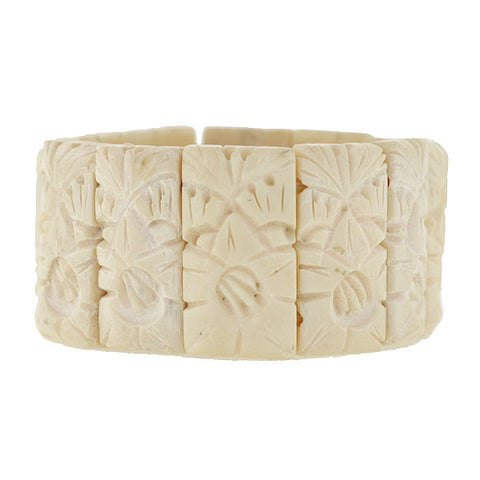 Retro Hand-Carved Bone Panel Link Bracelet