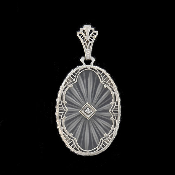 Art deco 14kt rock crystal diamond filigree pendant a brandt art deco 14kt rock crystal diamond filigree pendant aloadofball Choice Image