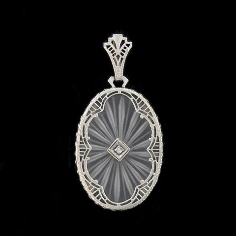Art Deco 14kt Rock Crystal & Diamond Filigree Pendant