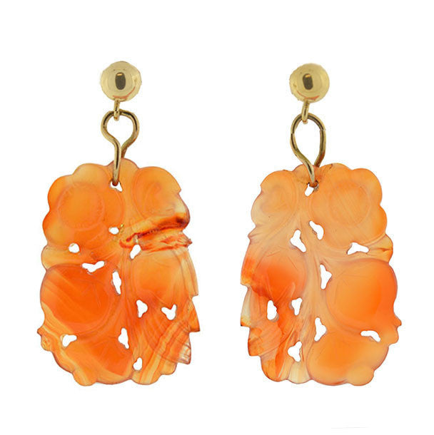 Art Deco 14kt Carved Carnelian Flower Motif Earrings