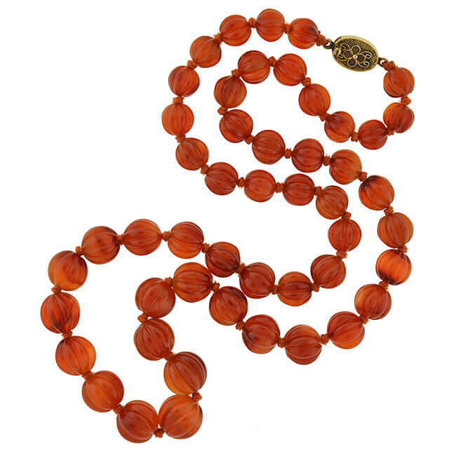 Vintage Carved Carnelian Bead Necklace 25.5""