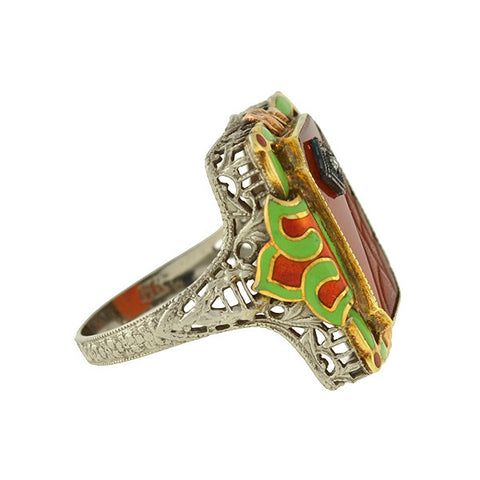 Art Deco 14kt Sardonyx Diamond & Enamel Filigree Ring