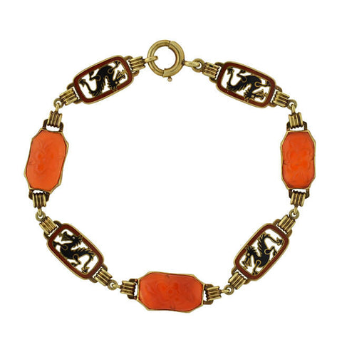 Art Deco 14kt Carved Carnelian & Enameled Dragon Link Bracelet
