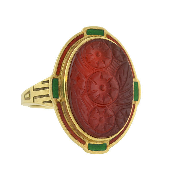 ALLSOPP BROS. Art Deco 14kt Carved Carnelian & Enamel Ring