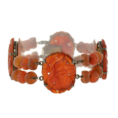 Art Deco Chinese Silver & Carved Carnelian Bracelet