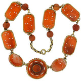 Art Deco 14kt Carved Carnelian Link Necklace