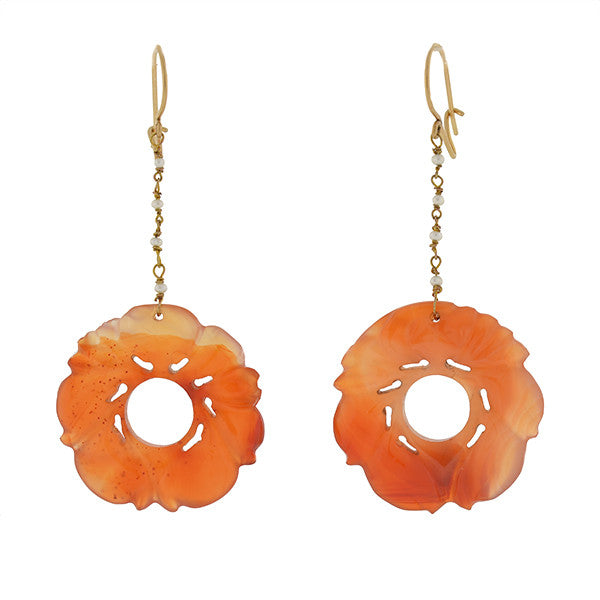 Art Deco 14kt Carved Carnelian & Seed Pearl Earrings