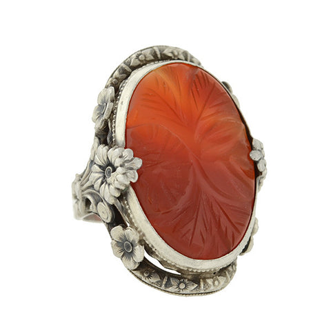 Art Deco Sterling & Carved Carnelian Flower Motif Ring