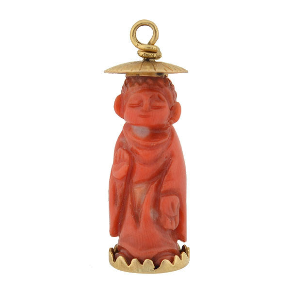Vintage 18kt Carved Salmon Coral Buddha Charm
