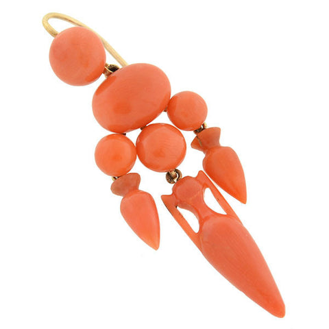 Victorian 14kt Carved Coral Cluster Hanging Urn Earrings