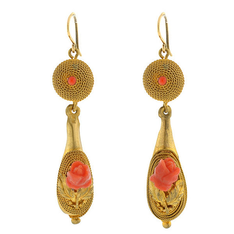 Victorian 14kt Etruscan Carved Coral Flower Earrings