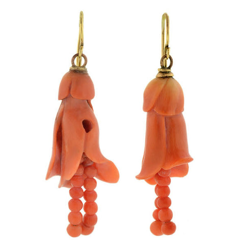 Victorian Carved Coral Flower & Bead Earrings