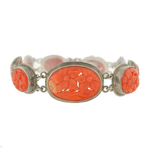 Art Deco Sterling Carved Coral Floral Link Bracelet