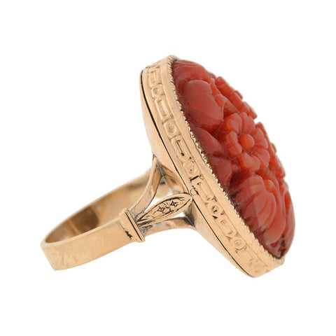 Art Deco 14kt Natural Coral Carved Floral Motif Ring