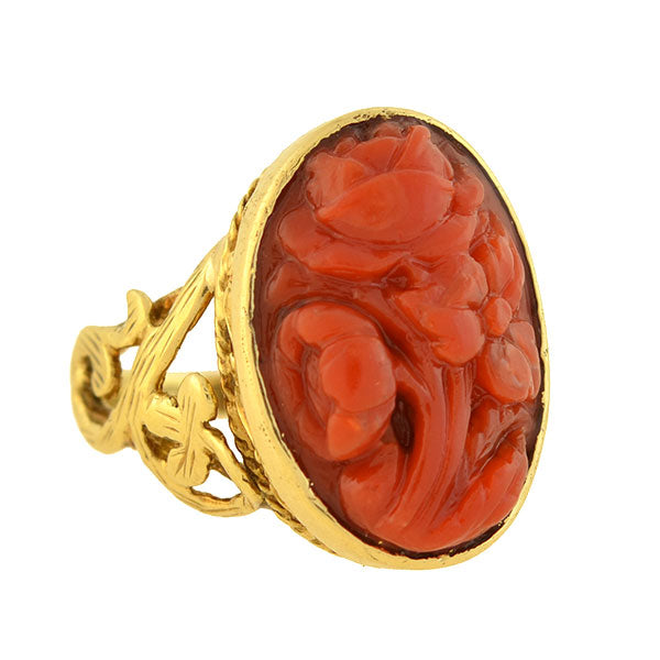 Victorian 14kt Carved Oxblood Coral Floral Filigree Ring