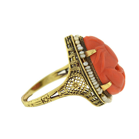 Art Deco 14kt Carved Coral & Seed Pearl Ring