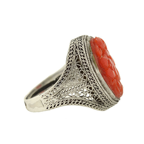 Art Deco Chinese Silver & Floral Carved Coral Filigree Ring