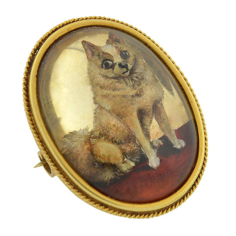 Victorian 14kt Reverse Carved Essex Crystal Pomeranian Dog Pin