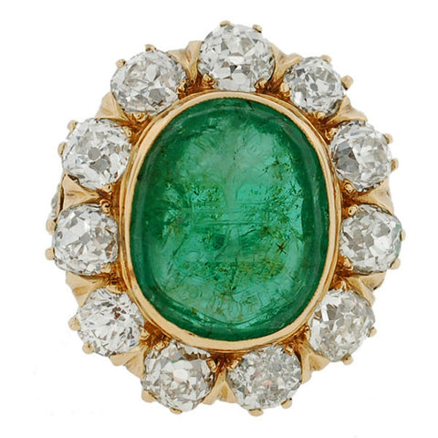 Victorian 14kt Carved Emerald Intaglio Diamond Cluster Ring