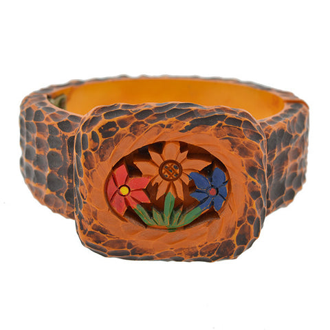 Retro Heavy Carved Flower Motif Bakelite Bracelet