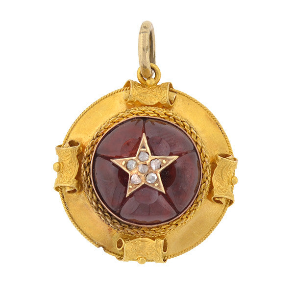 Victorian 15kt Carved Garnet & Diamond Star Locket Pendant