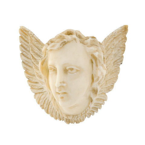 Victorian Hand Carved Ivory Angel Face & Wings Pin