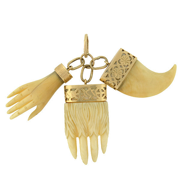 Victorian Gold & Carved Ivory Hand, Claw & Bear Paw Pendant