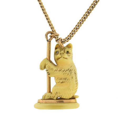 Victorian Gold-Filled & Hand Carved Bone Bear Necklace
