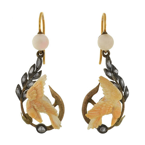 Victorian Mixed Metals Carved Ivory & Diamond Bird Earrings