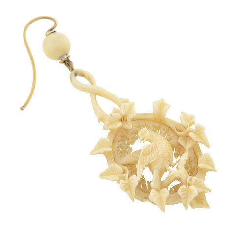 Victorian Exceptional Hand Carved Ivory Bird Earrings
