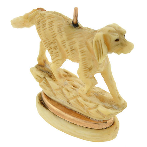 Victorian 12kt Carved Ivory Hunting Dog Fob