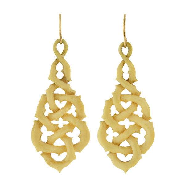 Victorian Carved Ivory Lacework Knot Earrings
