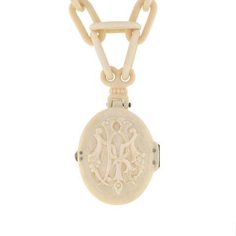 Victorian Hand Carved Ivory Locket & Chain Necklace
