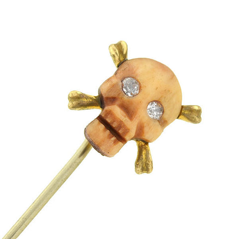 Victorian Silver Gilt Ivory & Diamond Skull & Crossbones Stick Pin
