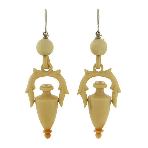 Victorian Sterling & Hand Carved Ivory Urn Earrings