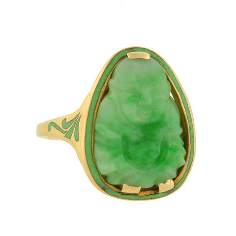 Art Deco 14kt Enamel & Carved Jade Buddha Ring